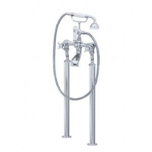 3521/1 Perrin & Rowe Bath Shower Mixer Tap & Extended Unions, Floor Legs, Handshower & Cradle